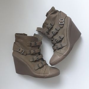 Canvas Buckle Wedge Sneaker Booties